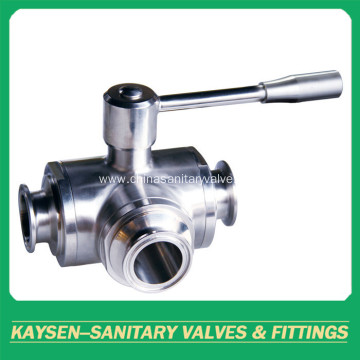 DIN Hygienic Manual Three Way Clamped Ball Valve